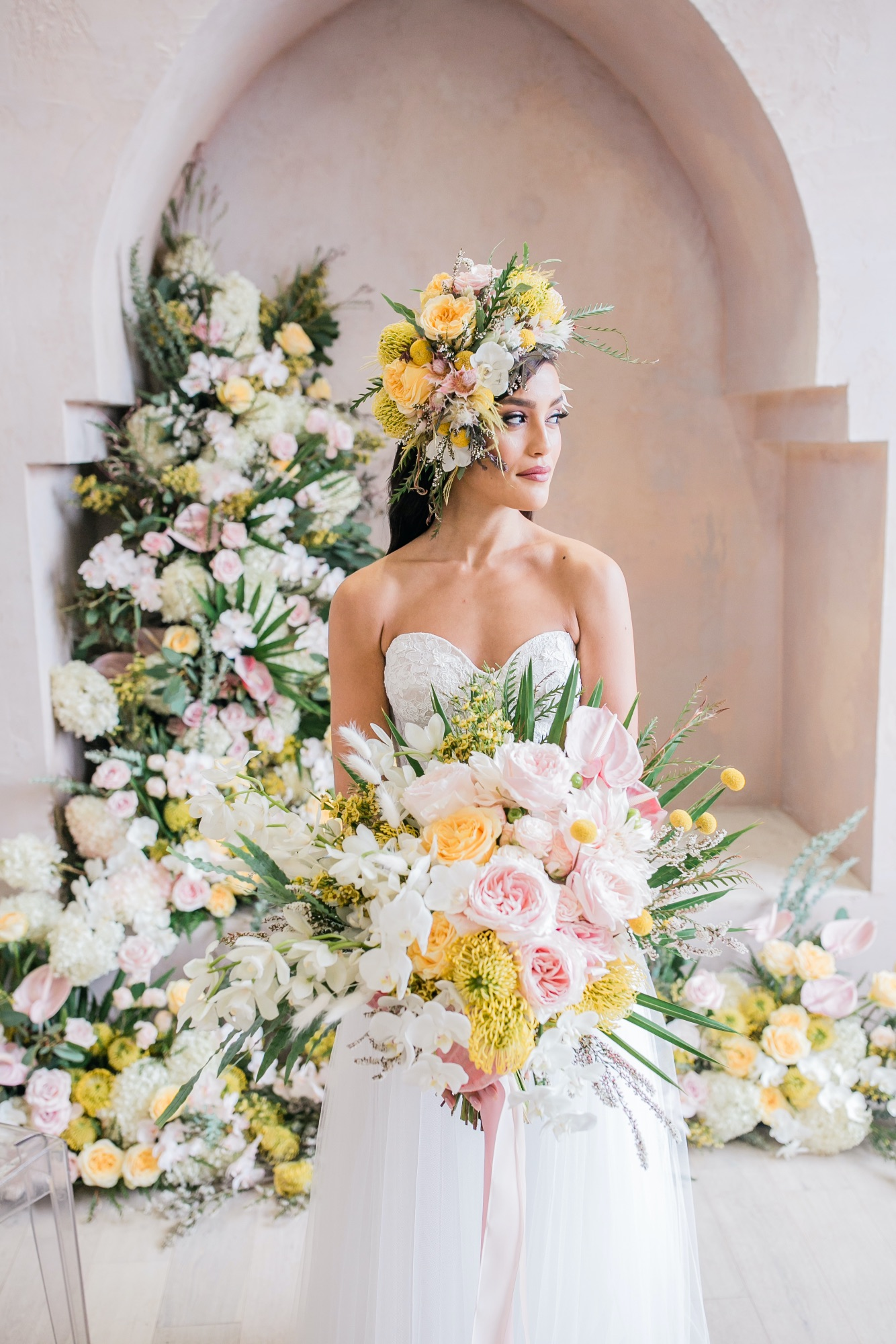 Creative Pastel Watercolor Wedding Editorial With Aerialists
